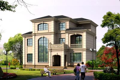 140平新款三层楼房设计图,整体设计现代时尚。