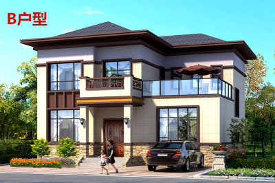农村20万元二层小楼设计图,新中式风格