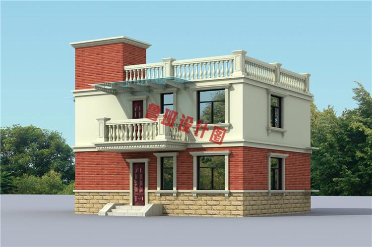 二层平屋顶别墅设计背面图