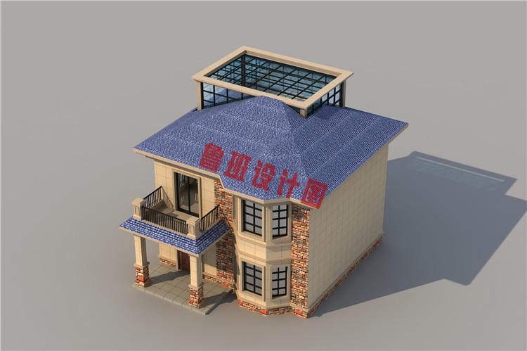 田园风二层乡村自建房屋设计鸟瞰图