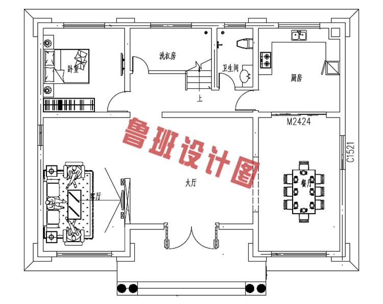 二层欧式别墅设计一层户型图