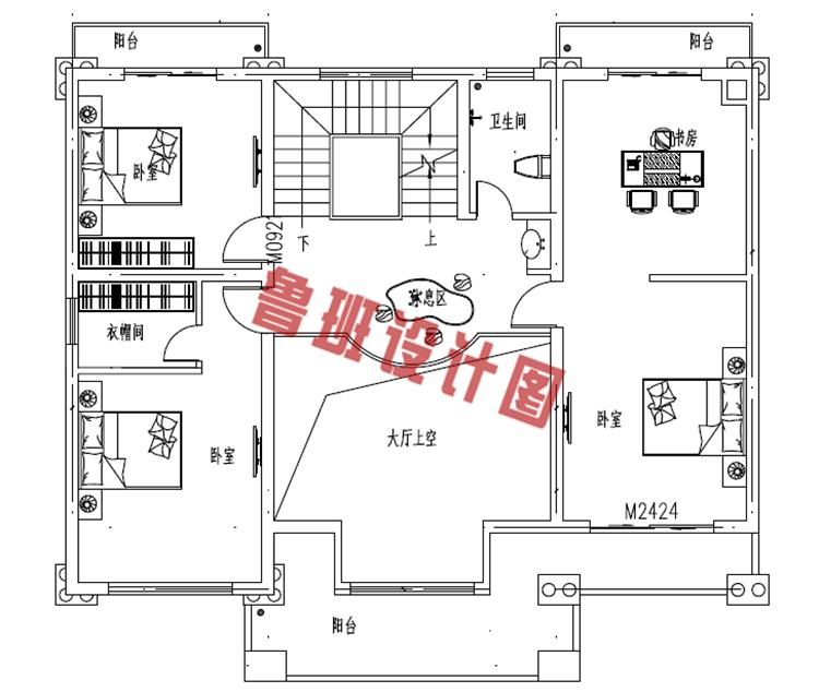 二层欧式别墅设计二层户型图