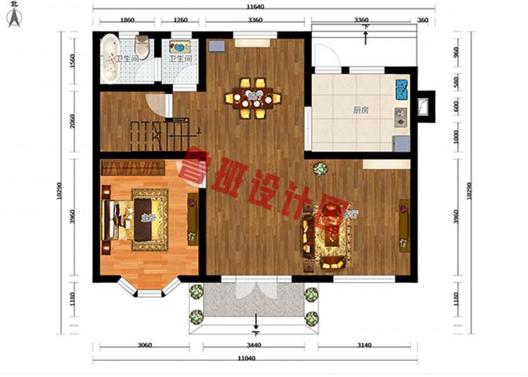小占地新农村二层自建房一层户型图