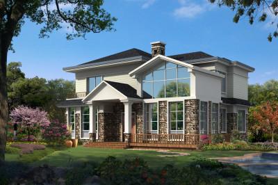田园别墅设计图二层户型,设计独特美观,沉稳大气有内涵。