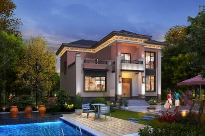 新中式花园泳池二层小楼设计图,外观恢宏大气!