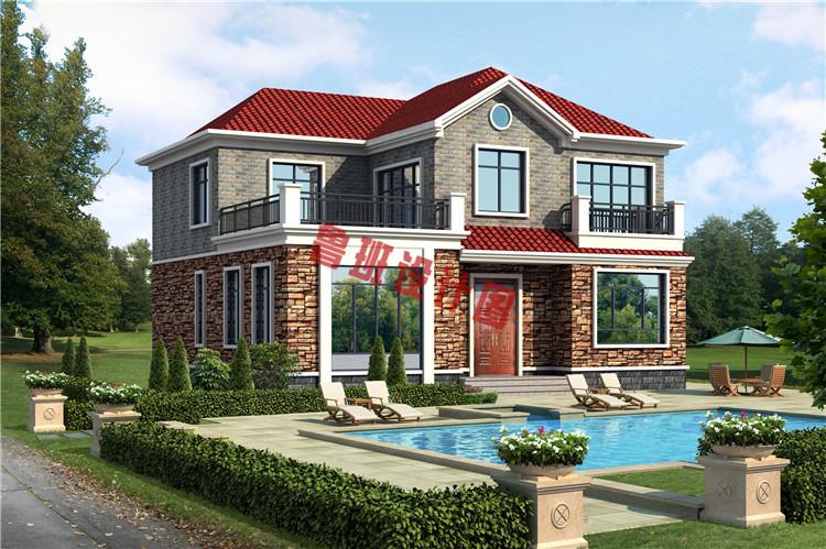 地中海二层别墅自建房屋设计效果图