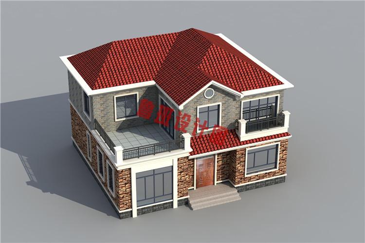 地中海二层别墅自建房屋设计鸟瞰图