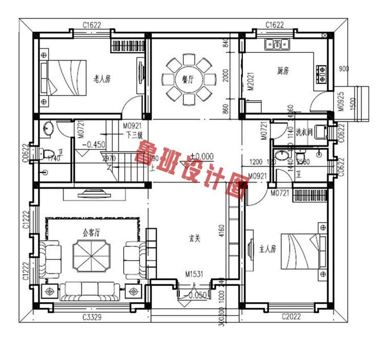 地中海二层别墅自建房屋设计一层户型图