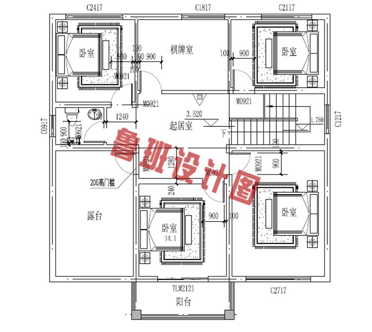 乡村别墅设计二层户型图