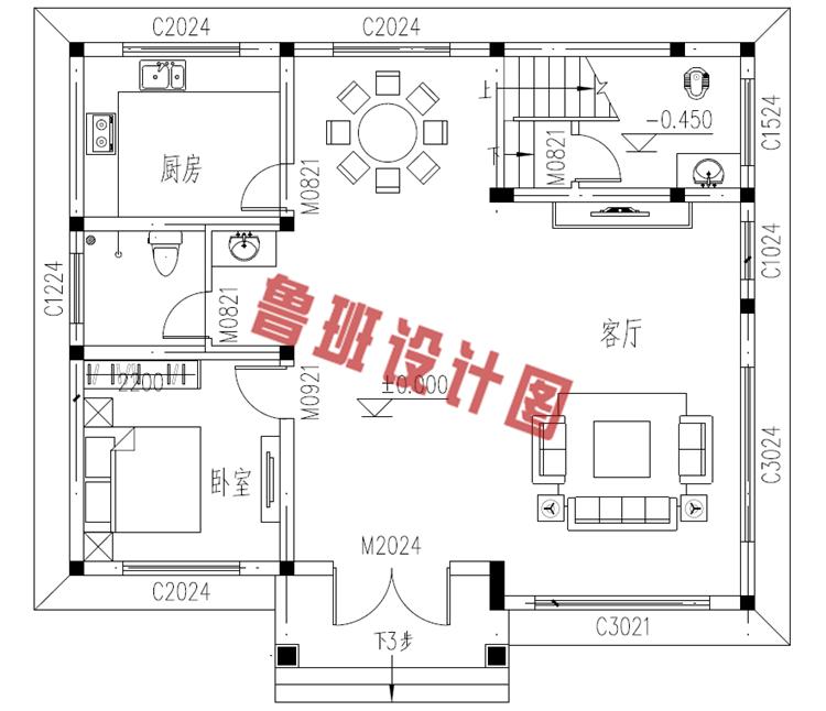 二层别墅设计一层户型图