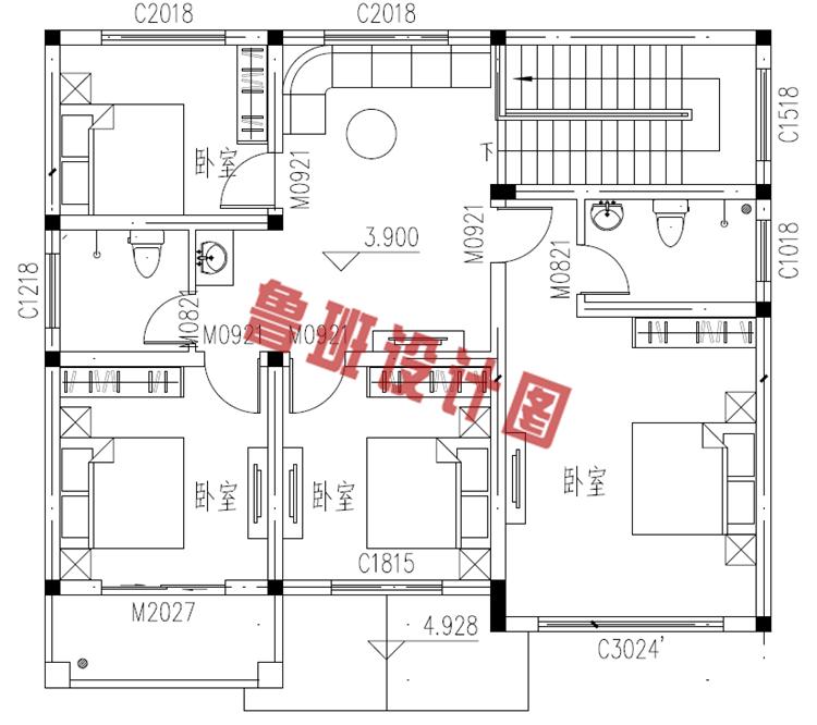 二层别墅设计二层户型图