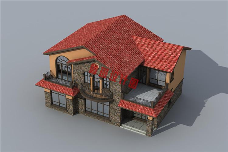 西班牙风二层别墅设计鸟瞰图