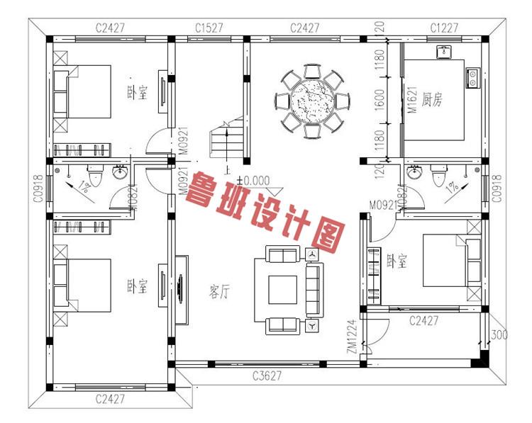 西班牙风二层别墅设计一层户型图
