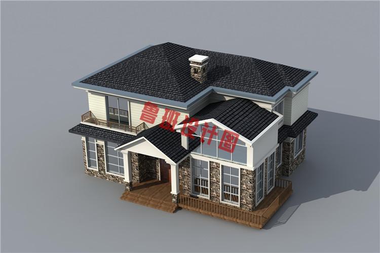 美式田园风二层别墅设计鸟瞰图