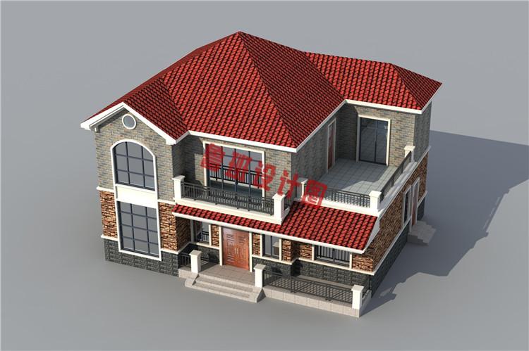 美式二层小别墅设计鸟瞰图