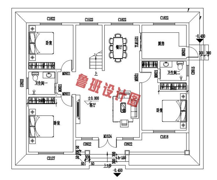 美式二层小别墅设计一层户型图