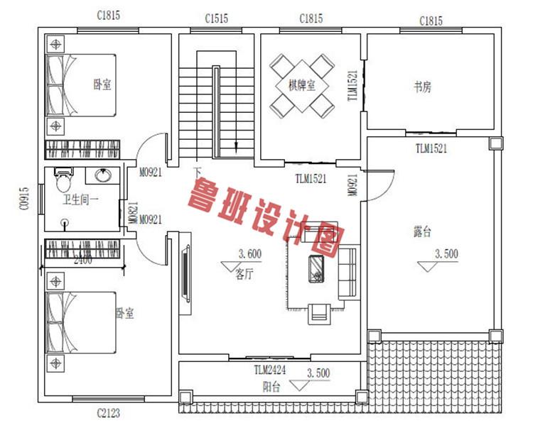 美式二层小别墅设计二层户型图