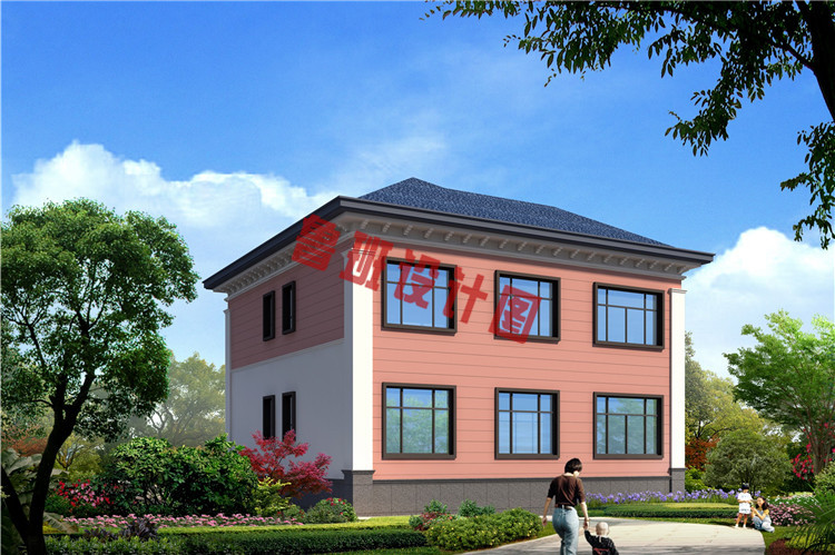 新中式花园泳池二层小楼背面图