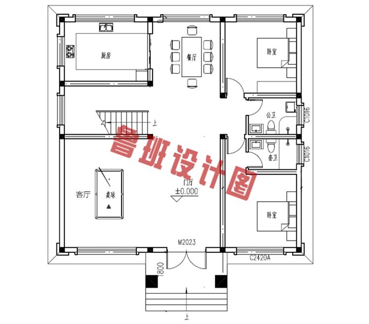 新中式花园泳池二层小楼一层户型图