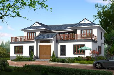 乡村二层中式四合院自建房屋设计图,农村四合院别墅推荐户型