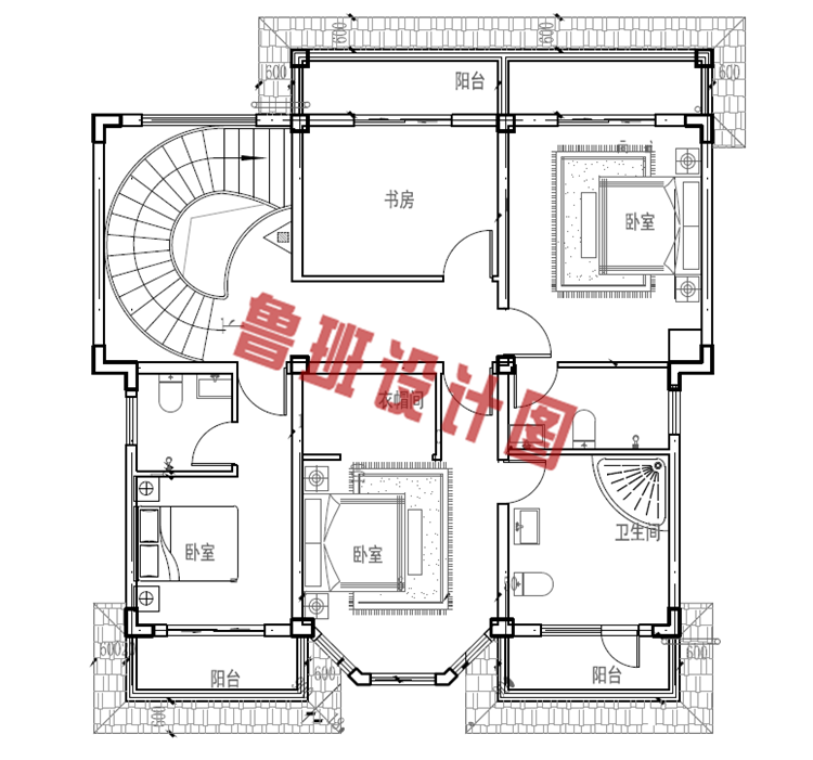 田园风小楼设计二层户型图