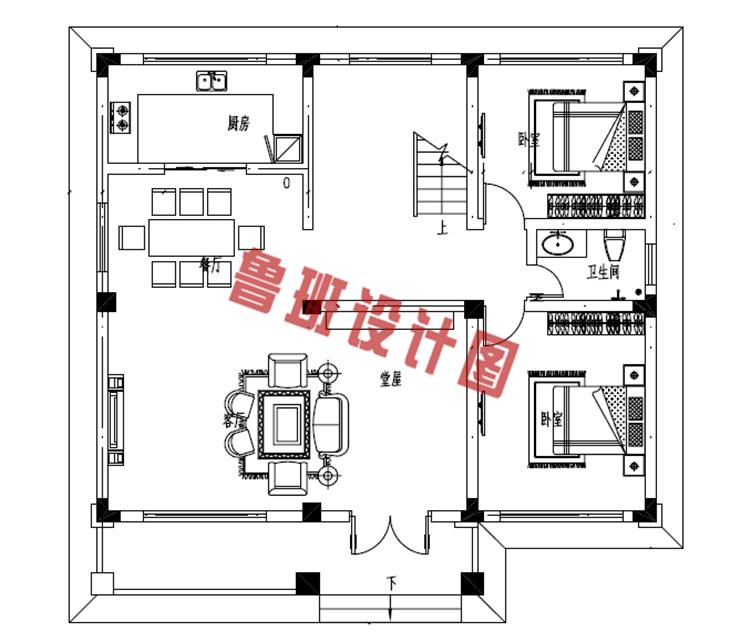 三间二房别墅设计一层户型图