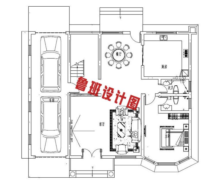 带车库乡村二层自建房推荐设计一层户型图