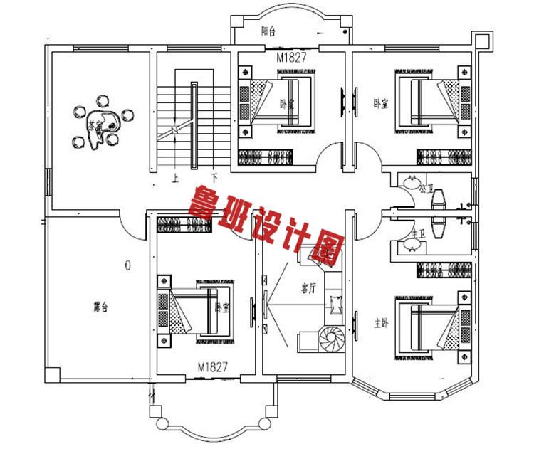 带车库乡村二层自建房推荐设计二层户型图