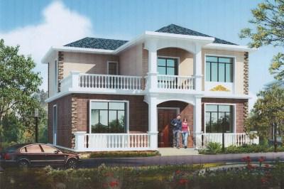二层3间简欧乡村别墅设计图,造价低又实用,很适合农村建!