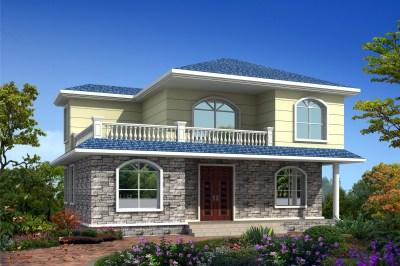二层楼房图片造价15万,附设计图,简单实用100平户型。