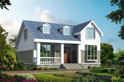 坡屋顶二层(一层半)农村别墅设计图,农村建房首选。