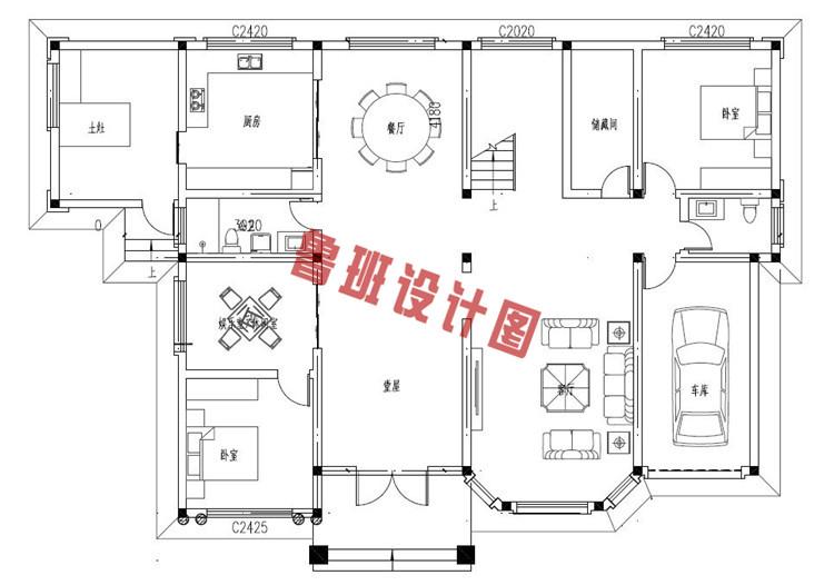 典雅的农村二层小别墅推荐设计一层户型图