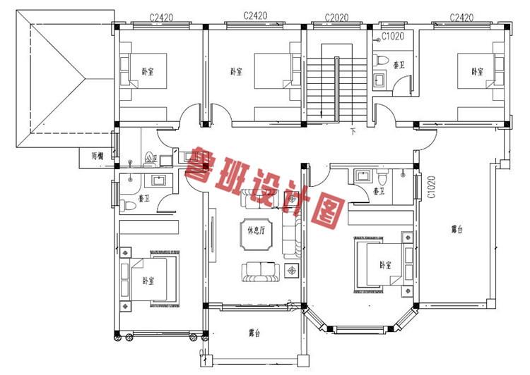 典雅的农村二层小别墅推荐设计二层户型图