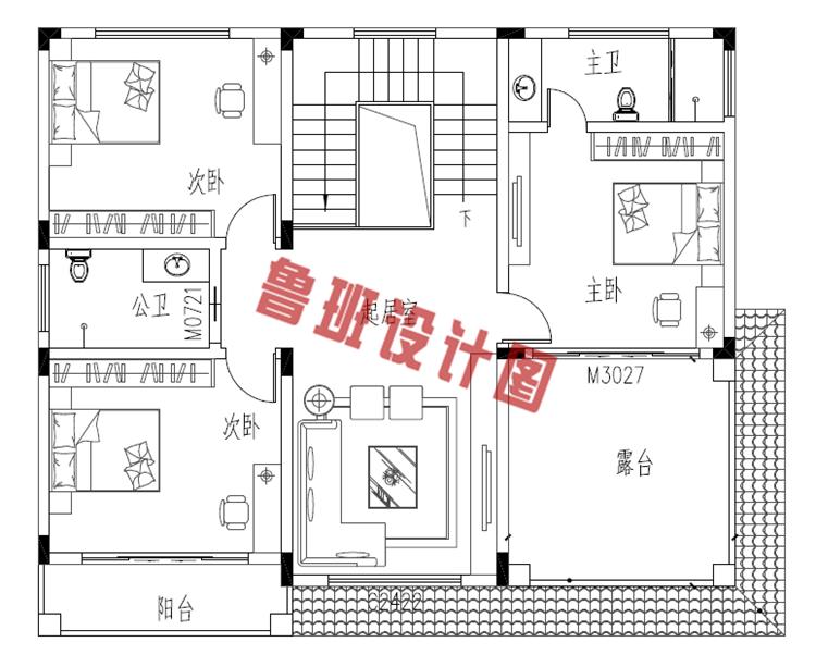 农村自建房房设计二层户型图