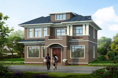 带阁楼的乡村盖二层房屋设计图,120平左右