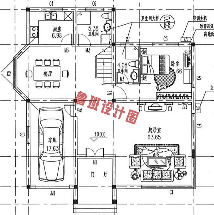 165平带车库二层别墅设计一层户型图