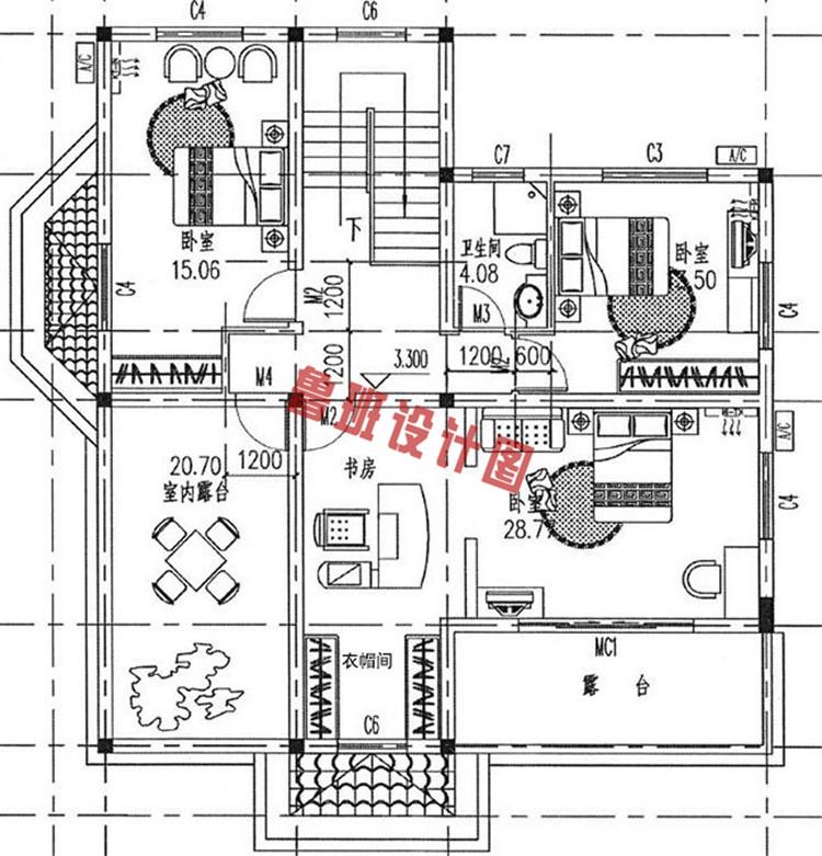 165平带车库二层别墅设计二层户型图