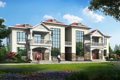 二层楼房别墅设计图纸,客厅中空,外观时尚大气。