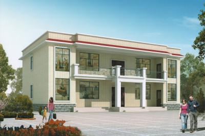 农村平顶小别墅设计图二层户型,简单、造价低