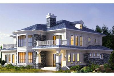 欧式二层小洋楼设计图推荐,层层错落的屋顶,生出一种参差美感