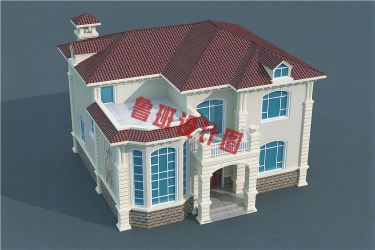 二层高档小别墅设计鸟瞰图