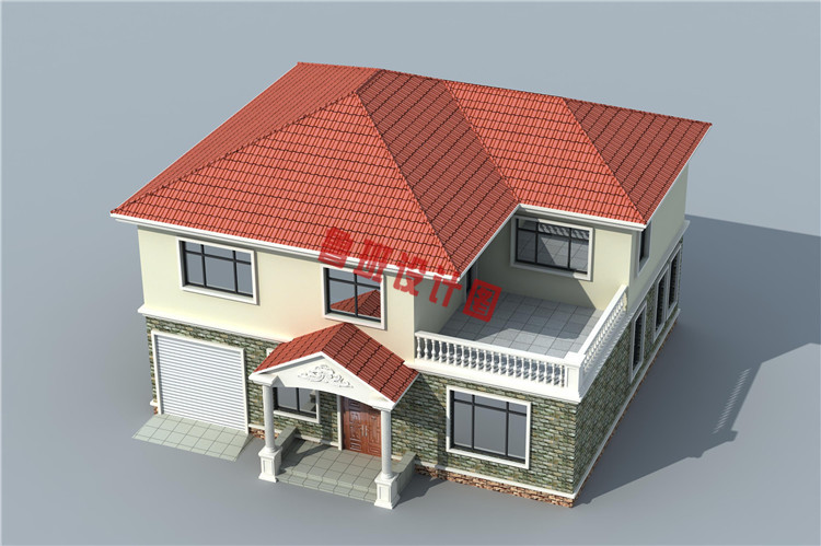 25万乡村二层小别墅设计鸟瞰图