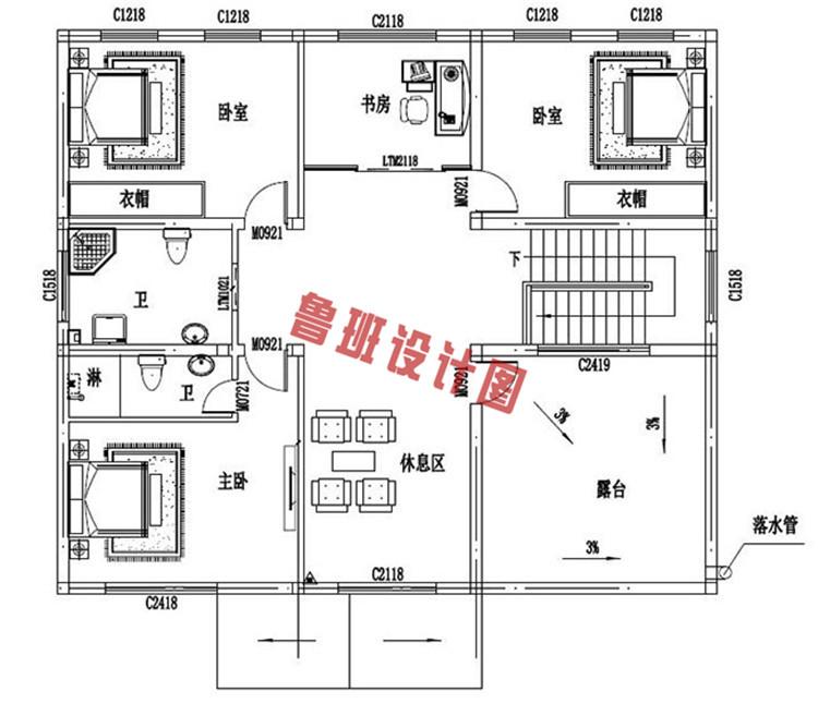 25万乡村二层小别墅设计二层户型图