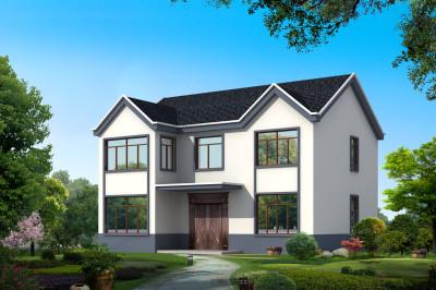 古朴二层乡村自建房屋设计图,外观简洁、坡屋顶