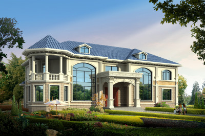 农村五间二层别墅房屋设计图,色彩搭配十分协调