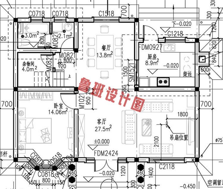 乡村二层小别墅设计一层户型图