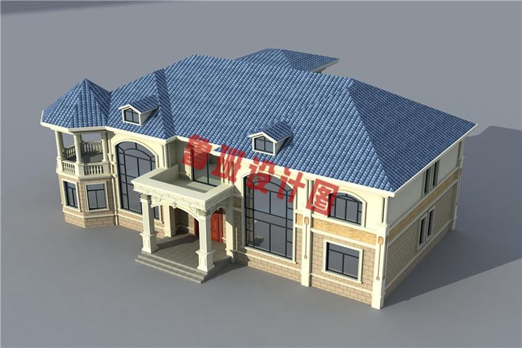 高端豪华的二层别墅设计鸟瞰图