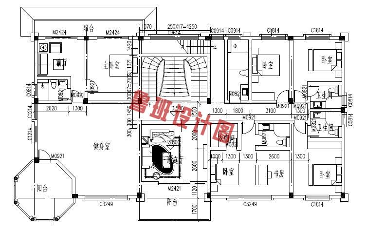 高端豪华的二层别墅设计二层户型图