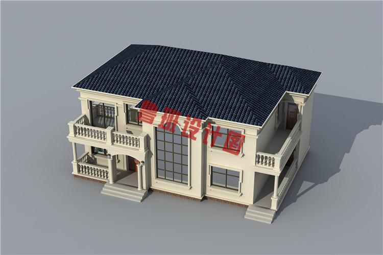 欧式二层乡村别墅设计鸟瞰图
