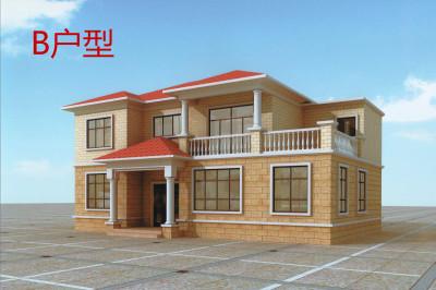 造价30以内现代风格农村二层自建房别墅设计图,框架结构